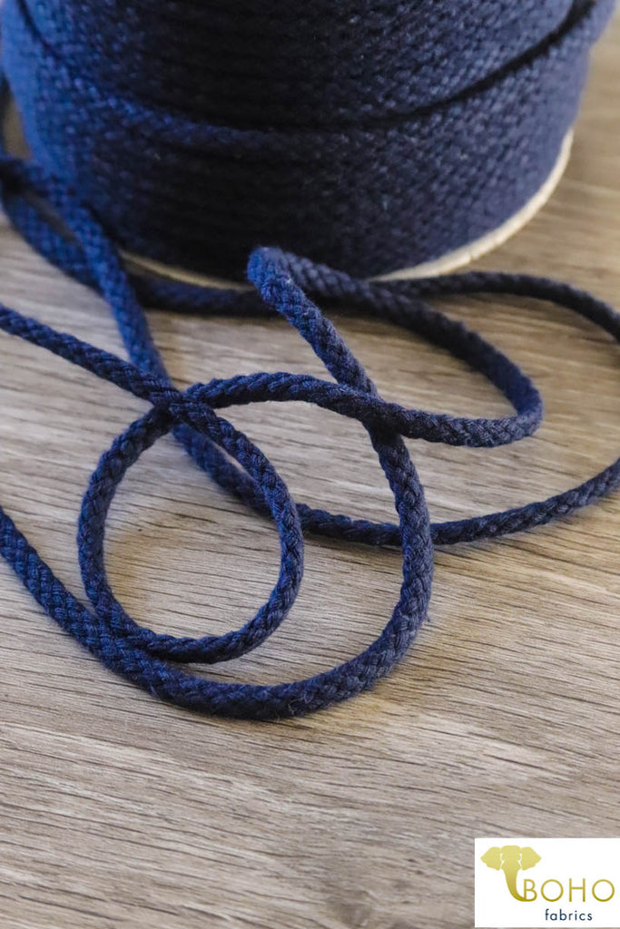 Navy Blue Cotton Drawstring Cord (Round) 3/16""