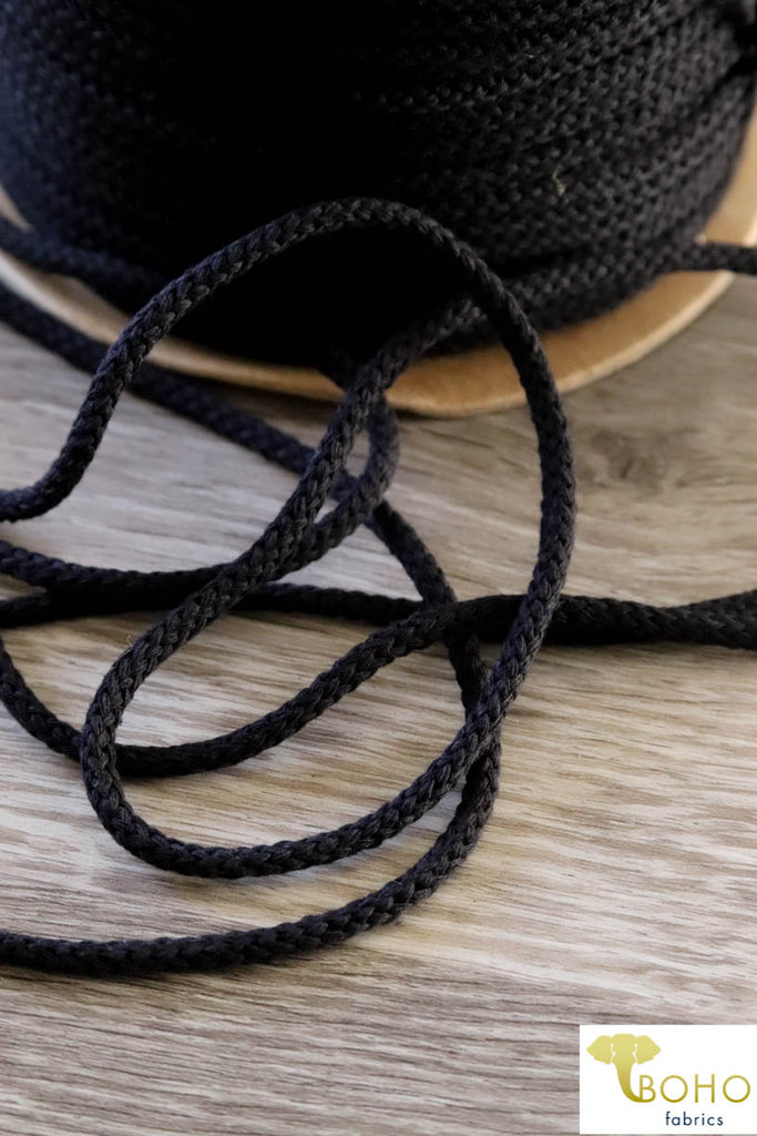 Black Cotton Drawstring Cord (Round) 1/8""