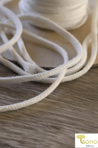 White Cotton Drawstring Cord (Flat) 1/4""