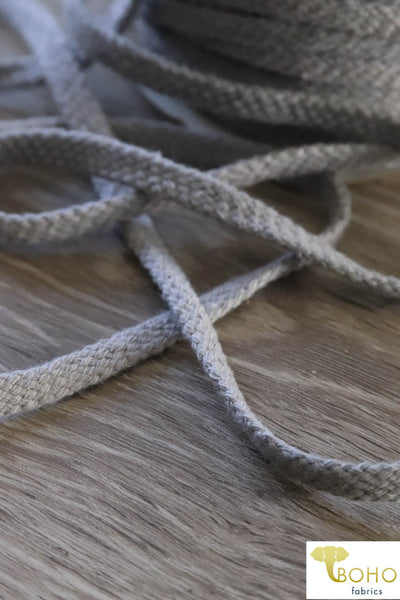 Light Gray Cotton Drawstring Cord (Flat) 3/8""