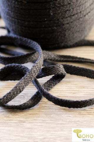 Charcoal Gray Cotton Drawstring Cord (Flat) 3/8""