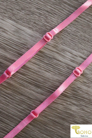"Youth Size Pink Satin Tank Top Straps,  1/4"" Wide.  CS-P"