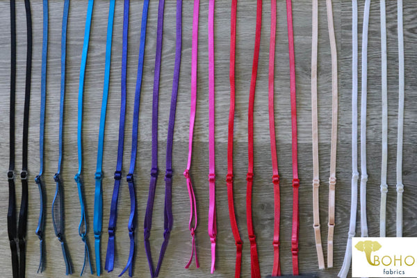 "Satin Straps:  Adjustable Elastic Straps. 1/4"" (6mm)"