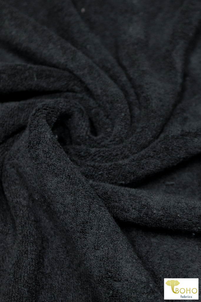 Soft Black Terry Cloth Knit. FTS-203