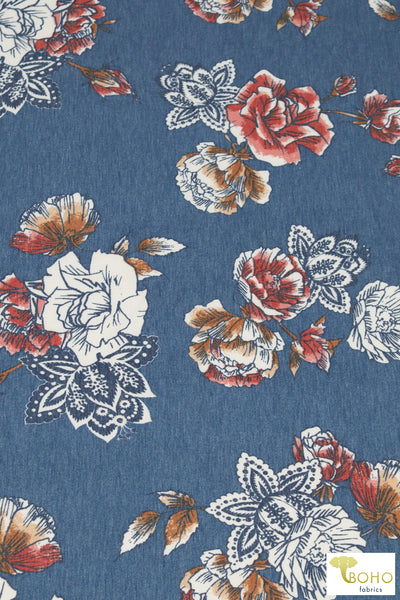3 Yard Last Cut! Southwest Roses.  Cotton Lycra Boho Floral Knit Fabric.