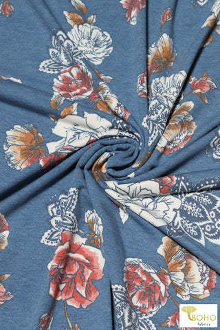 Wildflowers on Periwinkle. Rayon Spandex Knit Fabric.