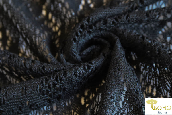 Crocheted Folklore Diamonds. Black Lace Fabric