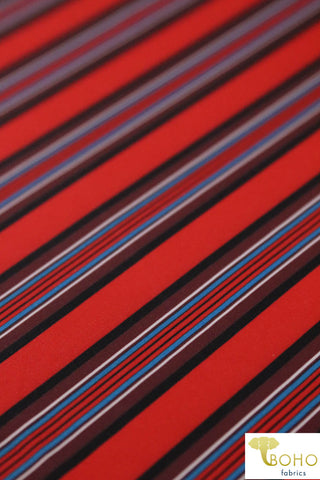 Bardot Vertical Stripes. Swim/Activewear. Nylon Spandex Knit Fabric