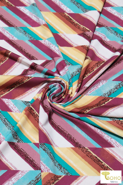 Sand & Sea Stripes. Swim/Activewear. Nylon Spandex Knit Fabric
