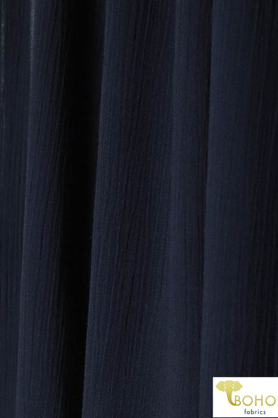 Navy Blue Solid. Rayon Crepe Woven Fabric