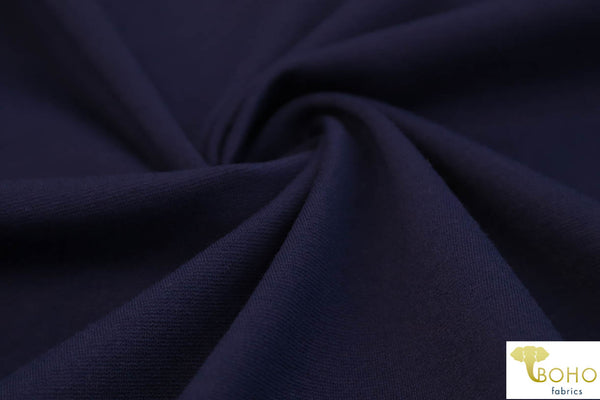 Navy Ponte Di Roma Double Knit Fabric. Rayon/nylon/spandex Blend. Heavier Weight