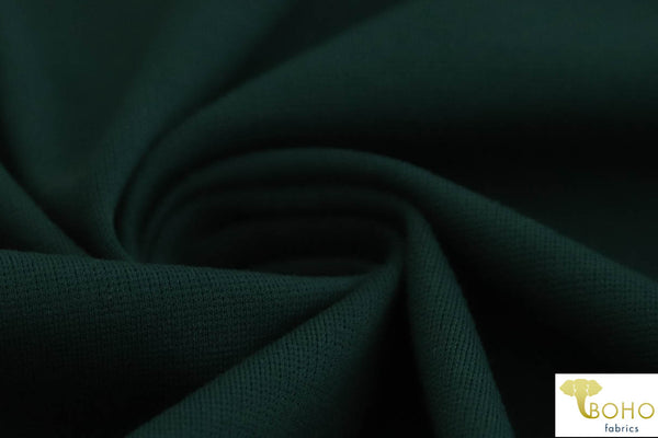Hunter Green Ponte Di Roma Double Knit Fabric. Rayon/nylon/spandex Blend. Heavier Weight