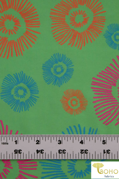 Green Fireworks Boardshort Print. Swim/Activewear. Poly Microfiber Woven Fabric