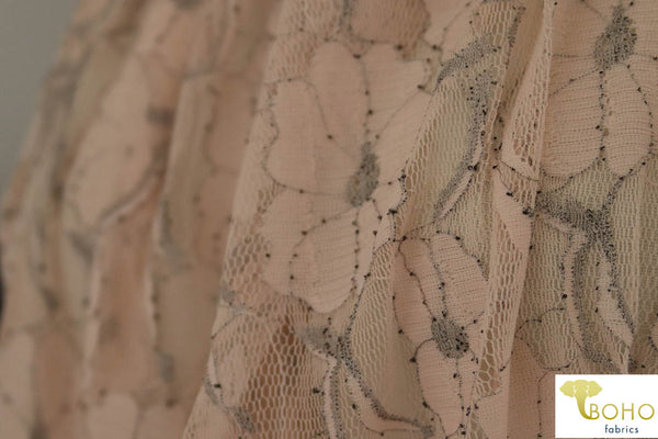 Light Pink and Silver Metallic Floral Stretch Lace Knit Fabric.