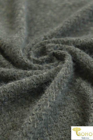 "Brushed ""Chenille Style"" Novelty Yarn in Olive. Brushed Sweater Knit. SWTR-191-GRN."