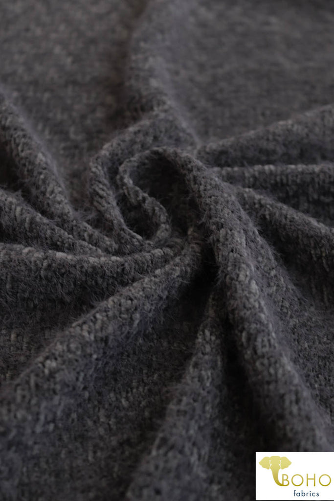"Brushed ""Chenille Style"" Novelty Yarn in Gray. Brushed Sweater Knit. SWTR-191-GRY."