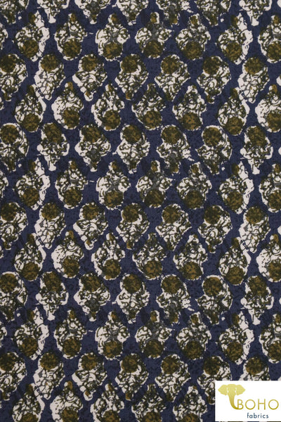 Earthy Batik on Navy. Rayon Woven Fabric. WV-116.