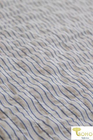 Puckered Petite Denim Blue Stripes on White. Woven Fabric. WV-112.