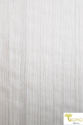 Vertical Metallic Silver Stripes on White.  Crinkle Gauze Woven Fabric. WV-109-WHT.