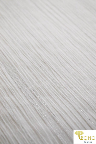 Vertical Metallic Silver Stripes on White.  Crinkle Gauze Woven Fabric. WV-109.