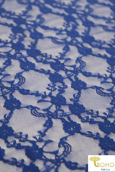 """Diamond Flowers"" in Royal Blue. Stretch Lace. SL-110-BLU."