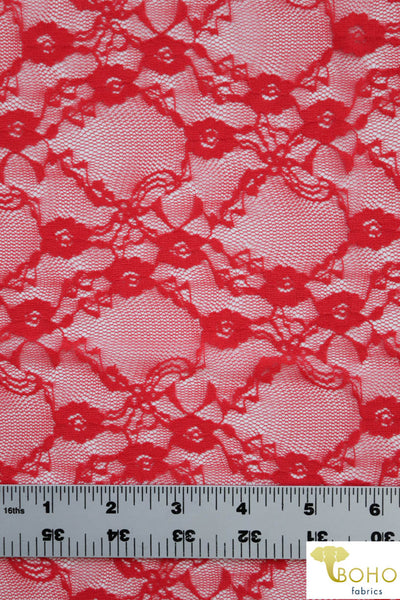 """Diamond Flowers"" in Deep Coral. Stretch Lace. SL-110-CRL."
