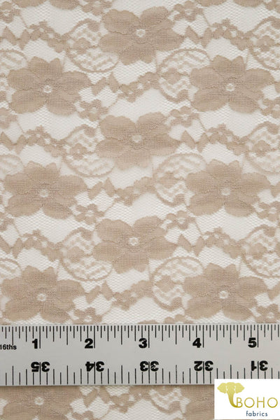 """Chain Flowers"" in Beige. Stretch Lace. SL-109-BGE."