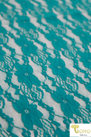 """Chain Flowers"" in Teal. Stretch Lace. SL-109-TEAL."