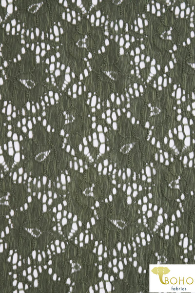 Camouflage Florals in Olive Green. Stretch Lace. SL-115.