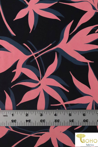 Coral & Teal Silhouette Leaves.  Swim/Athletic Nylon Spandex Fabric