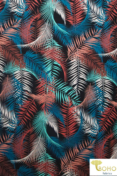 Hawaiian Palms Vibrant Colorway.  Swim/Athletic Nylon Spandex Fabric