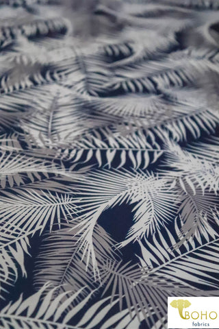 Hawaiian Palms - Blue/Gray/White Colorway.  Swim/Athletic Nylon Spandex Fabric
