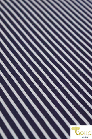 "Navy & White 1/4 "" Stripes.  Swim/Athletic Nylon Spandex Fabric"
