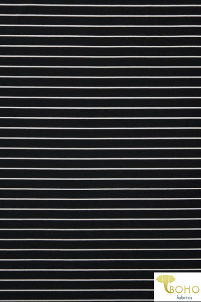 "Black Aruba 1/2"" Stripes.  Swim/Athletic Nylon Spandex Fabric"