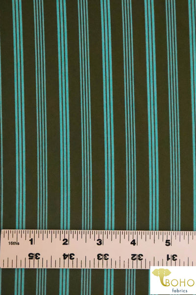 "Aqua Hairpin 3/8"" Stripes on Olive.  Swim/Athletic Nylon Spandex Fabric"