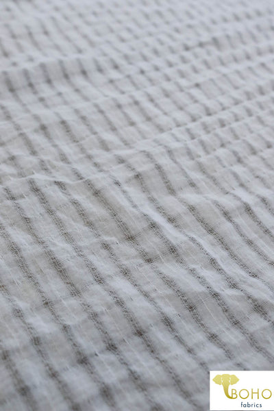 """Sheer Matrix"" in White. Lightweight Sheer Gauze Woven Fabric. WV-120."