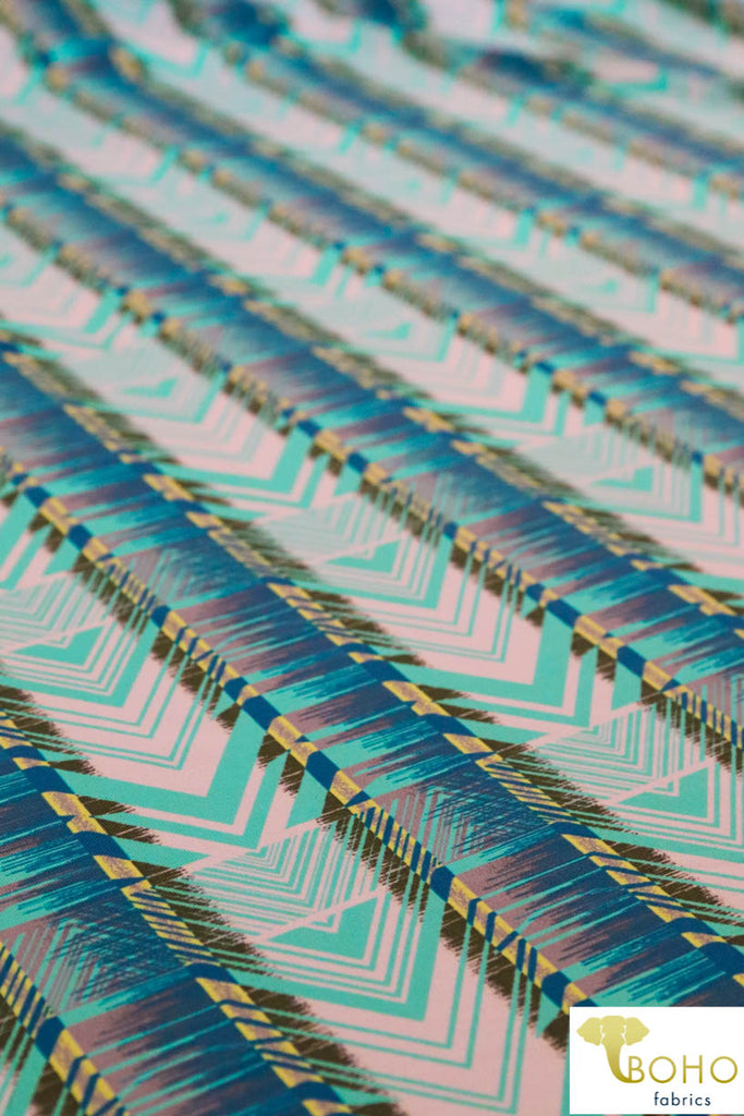 Island Geometrics Stripe.  Swim/Athletic Nylon Spandex Fabric
