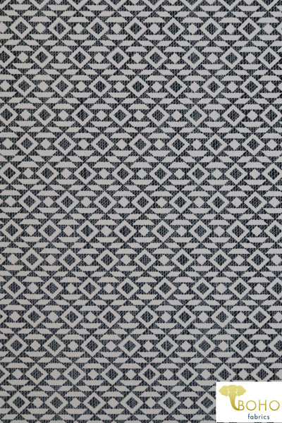 Rustic Diamond Geometrics in Gray.  Swim/Athletic Nylon Spandex Fabric