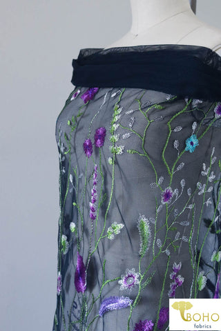 "Special Occasion: ""Violet Vines"" Embroidered Mesh on Navy"