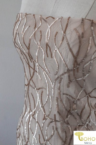 "Special Occasion: ""Cascading Vines"" Sequined Champagne Stretch Mesh"