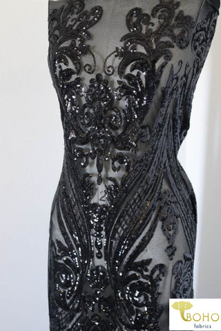 "Last Cut - 1 Yard.  Special Occasion: ""Damask Dreams"" Black Sequined Stretch Mesh *"