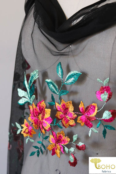 "Special Occasion: ""Tropical Paradise"" Embroidered Stretch Mesh on Black"
