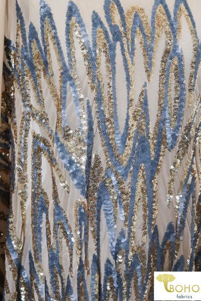 "Special Occasion: ""Tigers Tale"" Sequined Blue/Gold Stretch Mesh"