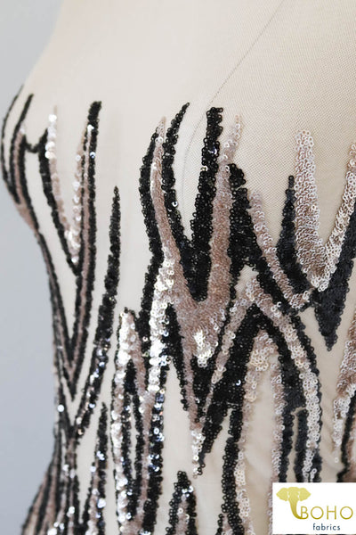 "Special Occasion: ""Tigers Tale"" Sequined Black/Champagne Stretch Mesh"
