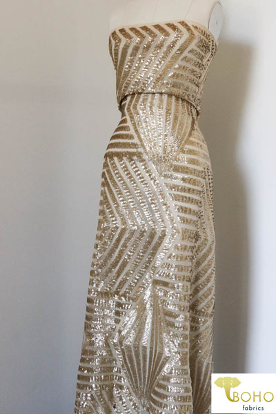"Special Occasion: ""Golden Gatsby"" Art Deco Nude Stretch Mesh"