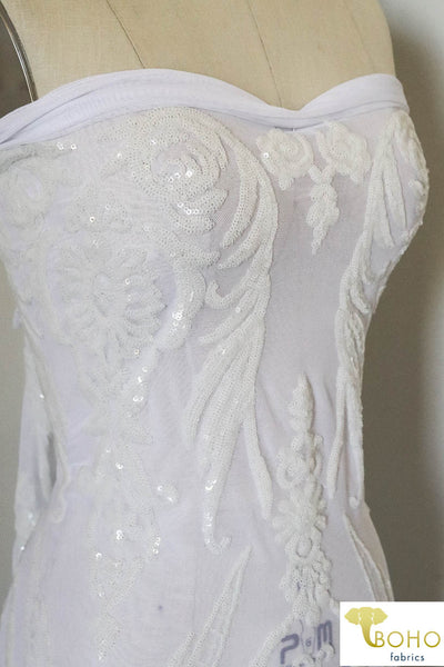 "Special Occasion: ""Damask Dreams"" White Sequined Stretch Mesh"
