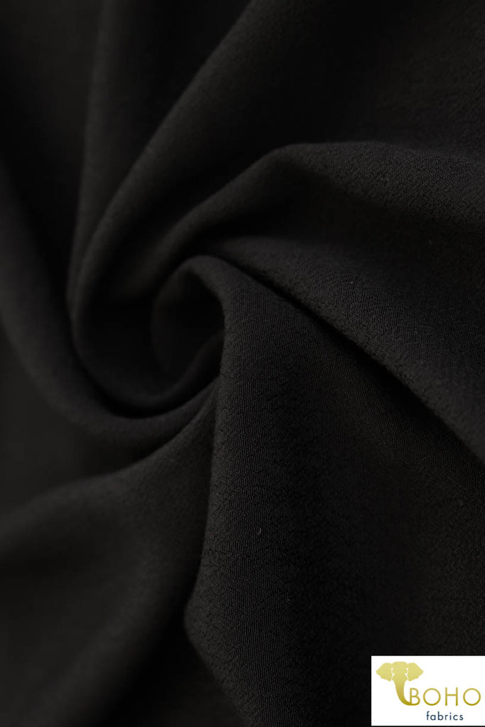 Black. Rayon Pebble Crepe Woven Fabric