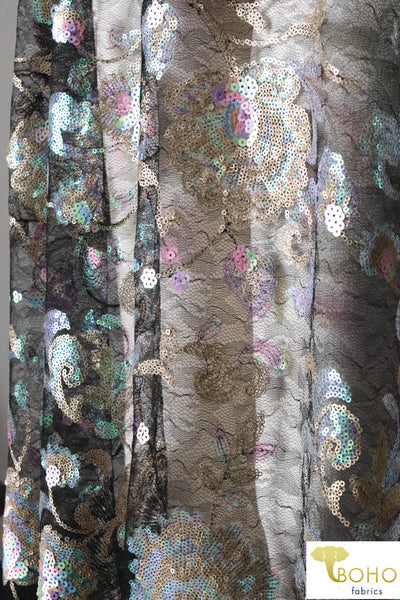 "Special Occasion: ""Iridescent Peacock Florals"" Sequined Lace"