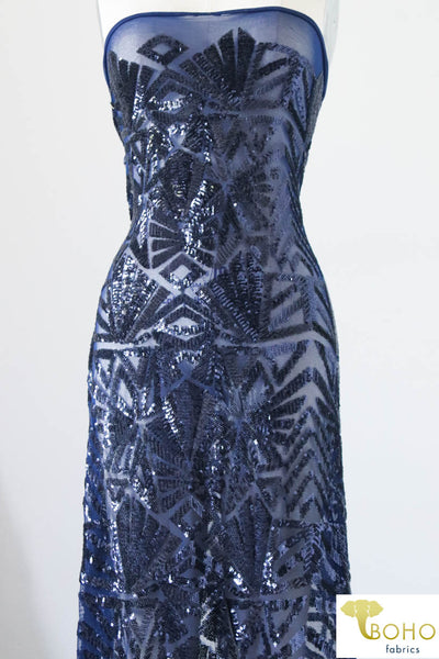 "Special Occasion: ""Geometrics Bursts on Navy"" Sequined Stretch Mesh Fabric"