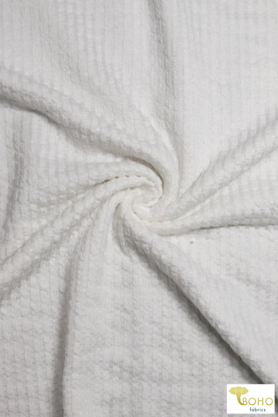 Last Cuts - 2 Yards!  White Tropics. Burnout Fabric. Off Grain. Rayon/Poly/Spandex Blend